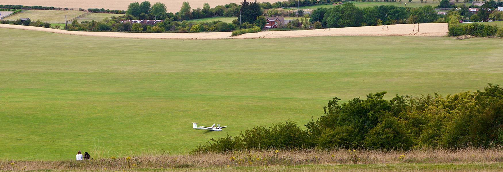 View from Dunstable Downs of a glider