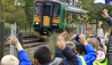 Elstow school pupils waving off train